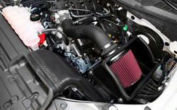 63-2596 air intake system installed in engine bay of 2015-2016 Ford F-150
