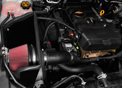 K&N 63-3089 intake system installed in engine bay of GMC Canyon and Chevrolet Colorado