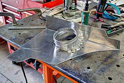 Heat shield being fabricated