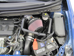 K&N Air Intake under the hood of Honda Civic