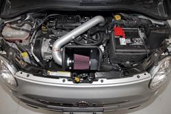 K&N Air Intake under the hood of Fiat 500