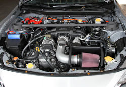 K&N Air Intake under the hood of the Scion FR-S 2.0L