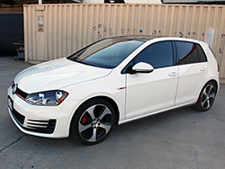 The 2015 Golf GTI is equipped with a 2.0L turbocharged engine capable of producing 40 more horsepower