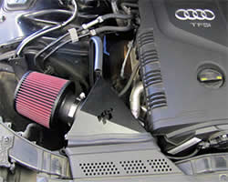 K&N air intake system installed into an Audi 2014-2015 A4, A5, or A6 2.0L turbo