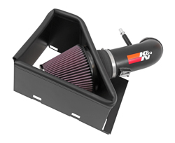 The K&N performance air intake upgrade for 2014-2016 Ram 2500/3500 6.4L Hemi V8 pickups includes an aluminum air intake tube, high-flow K&N air filter, and an air filter heat shield