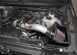 K&N Air Intake under the hood of Ford F150