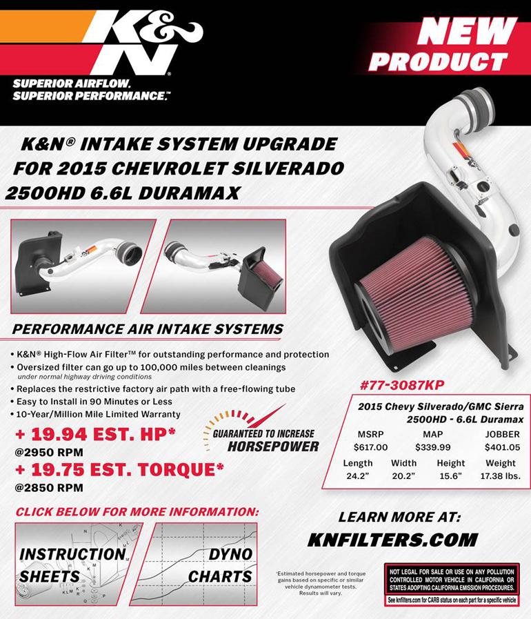 K N Air Intake System Upgrade For 2015 Chevy Silverado