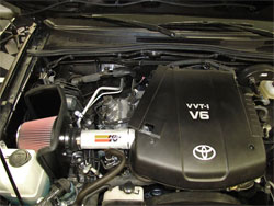 K&N Air Intake under the hood of Toyota Tacoma