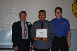 K&N Scholarship presented to San Gabriel High School student Steven Loc by K&N's Steve Gibson and Instructor Eli Jaramillo