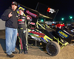 Jake Andreotti, and his father Jared, dedicated Andreotti Racing's first win in the Super 600 Micro Sprint Car class to Jenni Andreotti