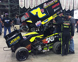 Jake Andreotti and his # 7p K&N Filter micro sprint car