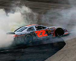 Austin Hill performed post-race doughnuts in his number 22 A&D Welding/Don Rich Ford Fusion celebrating his second win at Dover and two NASCAR K&N Pro Series East wins in a row