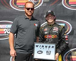 Jesse Little, son of former NASCAR Cup Series driver Chad Little, won the 21 means 21 presented by Coors Brewing Co. Pole Award for the fastest qualifying lap at Dover International Speedway