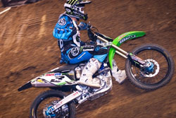Team Monster Energy Babbitt's Kawasaki recently earned positions on the podium while racing in the AMA Championship Series at the Kansas Expocenter.