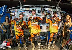 Team Babbitt's Monster Energy / Amsoil Kawasaki sweeped Cinci AX podium