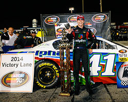 Ben Rhodes rolls down victory lane for the third NASCAR K&N Pro Series East race in a row in his Alpha Energy Solutions Chevrolet Impala