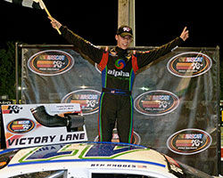Mother Nature tried to rain on Ben Rhodes' parade but couldn't dampen his spirits on victory lane after the Hampton 175 at Langley Speedway in Virginia