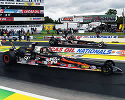 Luke Bogacki staged his American Race Cars dragster in the Super Comp final round of the 34th annual Lucas Oil Nationals at Brainerd International Raceway beside K&N's Gary Stinnett