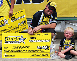 K&N filters sponsored NHRA driver Luke Bogacki took the win in his first appearance in the prestigious JEGS All-Stars event