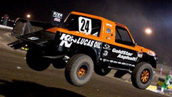 Morris' lead in round 10 was so large that he actually backed-off the gas in order to save his truck.