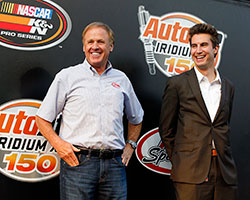 Legendary NASCAR driver Rusty Wallace, seen here with Iowa Speedway president Jimmy Small, designed the Iowa Speedway track located at 3333 Rusty Wallace Dr Newton, Iowa