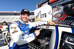 NASCAR K&N Pro Series East driver Chad Finchum won the Pitt Lite 125 at Bristol Motor Speedway in Tennessee