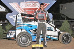 Bryan Clauson wins the POWRI National Midget event at Morgan County Speedway