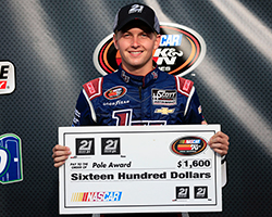 17 year-old William Byron, from Charlotte, North Carolina, earned the 21 means 21 Coors Light Pole Award