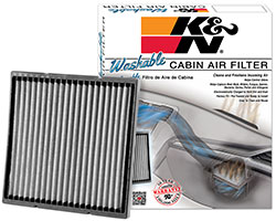 A K&N washable and reusable automotive cabin air filter is the first of its kind. The ability to clean and reuse an automotive cabin air filter is currently an exclusive feature offered by K&N