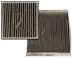 Replacing a dirty or clogged cabin air filter, like the one seen above, helps protect passengers as well as the vehicle's heating and air conditioning system