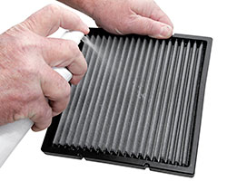 Step 3: Spray Cabin Air Filter Refresher™ on Dry Filter