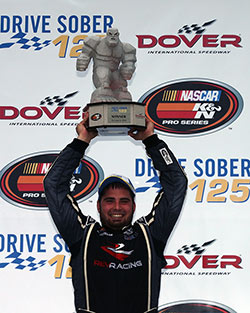 21-year old Florida native Collin Cabre captured his first NASCAR K&N Pro Series East victory ever at the famed Monster Mile for the NASCAR Drive for Diversity team Rev Racing