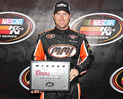 David Mayhew had the fastest qualifying time in the NAPA Auto Parts/Toyota 150 race and earned the 21 Means 21 presented by Coors Brewing Company Pole Award