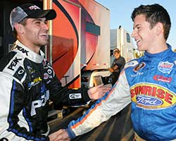Before the Toyota/Napa Auto Parts 150 race Christian PaHud was seen shaking hands with James Bickford who drove the number 6 Sunrise Ford Fusion to finish in the runner-up position