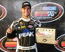 Christian PaHud started his day off right by driving the number 99 Bill McAnally Racing (BMR) Peak Toyota to the fastest qualifying time, winning the Coors Light Pole Award