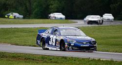 Austin Cindric leads the field at the NASCAR K&N Pro Series East race at Virginia International Racewa
