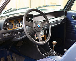 Clarion plans to update the interior of this classic 1974 BMW 2002 with a Clarion entertainment system and race-inspired seats