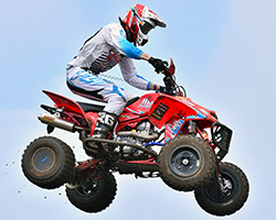 K&N sponsored David Haagsma began moto one of the Mountain Dew AMA ATV Motocross National from mid-pack