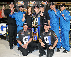 Rookie Dalton Sargeant earned his first NASCAR K&N Pro Series victory in the NAPA Auto Parts 150 at Kern County Raceway