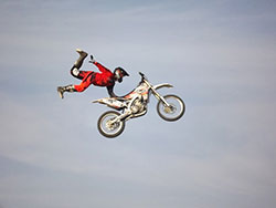 Team Faith FMX rider performing in Egypt