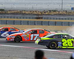 Pursley made contact with lap traffic and as David Mayhew described, they all ended up in the dirt with Mayhew gaining the lead and winning the race at Miller Motorsports Park