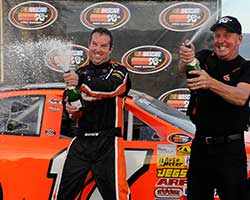 David Mayhew and the whole MMI team were ecstatic with the win at Miller Motorsports Park as it was Mayhew's first ever NASCAR K&N Pro Series West race win on a road course