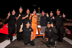 David Mayhew and team in the victory lane at Stockton 99 Speedway