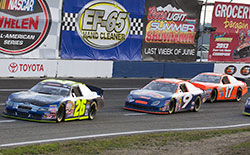 Greg Pursley, who leads the NASCAR K&N Pro Series West points championship, took the race lead on lap one, but a mechanical problem forced him into the pits halfway through the race