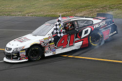 Spencer Davis won the first NASCAR K&N Pro Series East race of his career at Dominion Raceway