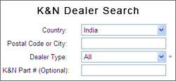 K&N Dealer Search by Postal Code or City for India