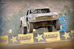Jumping down the front stretch in Lake Elsinore
