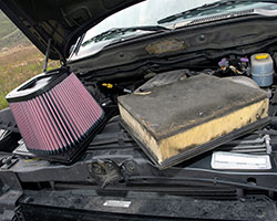 Replacing the stock auto air filter with a K&N diesel filter, like the K&N diesel air filter for 2003-2009 Dodge 2500 and 3500 Cummins 5.9L diesel models, can improve diesel performance