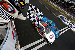 The end of the NASCAR K&N Pro Series East race at Dominion Raceway in Virginia