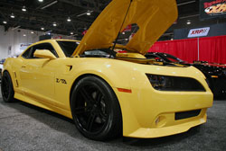 Yellow Camaro with Z/TA Trans Am Body Package at the 2012 SEMA Show